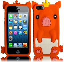 Apple iPhone 5 5S SE Rubber SILICONE Soft Skin Case Cover Cute Crown Pig Orange