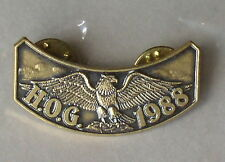 "HARLEY OWNERS GROUP HOG H.O.G. ROCKER 1988 VEST PIN ""NEW"" IN ORIGINAL PACKAGE"