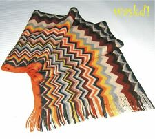 MISSONI orange SAWTOOTH wool/acrylic Blend long FRINGED scarf IN BOX Authentic!