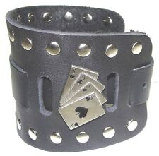 Wide Black Leather Watch Band With Eights and Aces Made in USA Buckle Closure