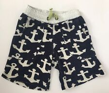 Mini Boden Toweling Shorts Boys 3 Anchors Blue White Drawstring