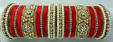 34 Pc Indian Bridal Wear Red Pearl Cz Gold Tone Bangle Churi Set Jewelry 2/8