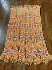 Crochet Yarn Granny Afghan Blanket Throw Hippie Boho ORANGE WHITE 35x56 Fringed