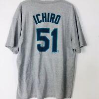 Ichiro Suzuki Majestic Seattle Mariners MLB Baseball Grey 2008 T Shirt Size XXL
