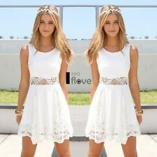 Womens Casual Sleeveless Lace Summer Beach Bodycon Party Skater White Mini Dress XL UK 12-14