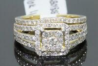 10K YELLOW GOLD 1.10 CARAT WOMEN REAL DIAMOND ENGAGEMENT RING WEDDING BAND SET