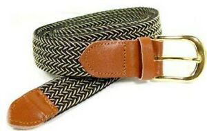"""Black Beige Leather Gold Buckle Woven Elastic Stretch Belt, 1-1/4"""" Wide Casual"""