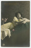 c 1910 Glamour Lady RECLINED BEAUTY European Fashion photo postcard