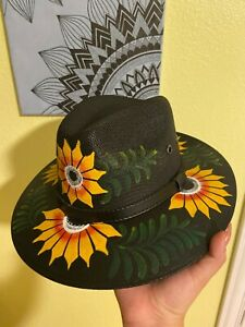 Mexican Artisanal Hand Painted Hat. Black Hat with Yellow Sunflowers Size M