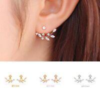 Mujer Pendientes De Botón 18K Chapado En Oro Cristal Aretes Stud Earrings
