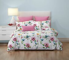 BIANCA KALINDA FLORAL BEAUTIFUL BIRDS AND PINK ROSES QUILT COVER SET DOUBLE NEW