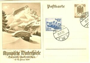 Germany Olympic Games Garmisch 1936 Stationery+Bobsleigh stamp First day cancel