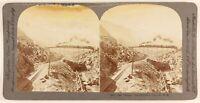 USA Treno Sur Le Pont Georgetown Colorado Foto Stereo PL55L6n Vintage Albumina