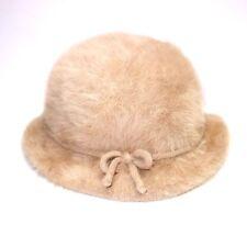Vtg Kangol Furgora Emma Angora Fur Bucket Hat Beige Women's Regular Made in UK
