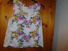 Ivory, pink and yellow floral sleeveless top, lace side panels, ATMOSPHERE, sz 8