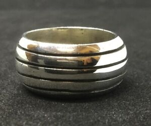 Mexico Sterling Silver Rounded Striped Design Band Ring