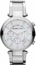 MICHAEL KORS PARKER SILVER TONE+CHRONOGRAPH DIAL+MOP,CRYSTAL,DATE WATCH-MK5700