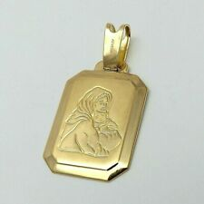 NEW 18K Gold 750 Italy Madonna Virgin Mary Baby Jesus Medal Charm Pendant 4gr