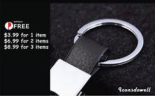 Fashion Men Black Genuine Leather Strap Keyring  Key Chain Ring Best Gifts