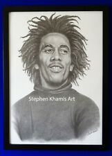 Bob Marley, art drawing black and white pencil, By Stephen Khamis