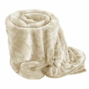 CREAM Soft Mink Faux Fur Throw Fleece Warm Sofa Bed Blanket Single Double King