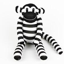 100% Handmade Black White Striped Sock Monkey Stuffed Animals Doll Baby Toy