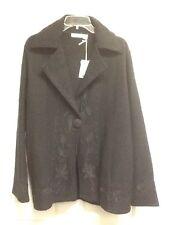 Whitewash Black Wool Jacket Coat Embroidered NWT XL