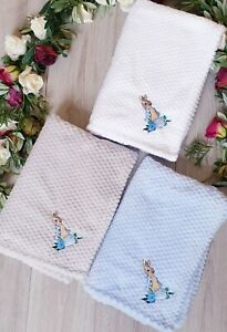 BEAUTIFUL PETER RABBIT EMBROIDERED SUPER SOFT COSY  DIMPLE  FLEECE BLANKET THROW