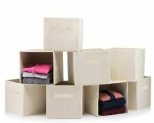 Foldable Storage Boxes - Cube Basket Storage Bins - Beige, Collapsible, 8 PACK