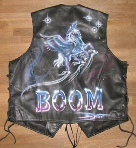 Pantera Men's Lace-Up Leather Vest / Biker Vest Black Size 2XL Approx. 54