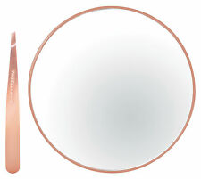 Tweezerman Rose Gold Mini Slant Tweezer & 10x Magnifying Mirror GIFT SET