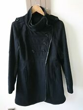 ICHI ladies faux leather details 60% wool coat size Large