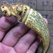 Power Real Wild BOAR Pig Tooth TIGER Carved Antique Thai Power Amulet Pendant