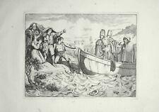 61 x 44 cm Pinelli Incisione Originale Insurrezione Acque Tevere Roma 1836