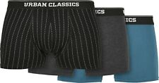 Urban Classics Organic Boxer Shorts 3-Pack Pinstripe AOP/Charcoal/Jasper