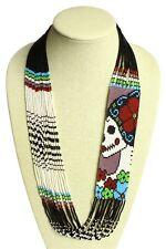 NE606-261 Funky Glass Beaded Sassy Katrina Day of Dead Hand Stranded Necklace
