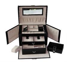 PU Large Jewelry Box Case Watch Holder Storage Organizer With Lock Black Croc
