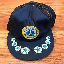 Vintage Chrysler Trucker Mesh Snapback Hat Cap Blue Pentastar Adjustable 6.5-7.5