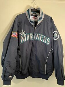 SEATTLE MARINERS Majestic Authentic Fleece Lined Dugout Jacket Mens Size XL EUC