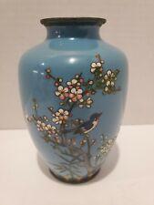 ANTIQUE JAPANESE CLOISONNE ENAMEL SILVERWIRE VASE BLUE BIRD ON PRUNUS FLWRS RARE