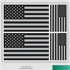 4 x USA - American Stars & Stripes Flag Metallic Silver and Black Vinyl Sticker