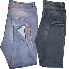 M&S Mid Rise Stretch SKINNY Leg Zip Ankle Jeans Blue Charcoal Size 8 - Plus