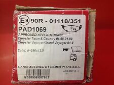APEC REAR BRAKE PADS TO SUIT CHRYSLER VOYAGER 97-01 PAD1069
