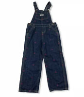 OshKosh B'GOSH Girl 4T Denim Blue Jean Overall Pants Pink Hearts Dark Wash