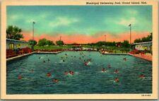 "1940s Grand Island, Nebraska Postcard ""Municipal Swimming Pool"" Curteich Linen"