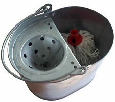 More details for galvanised mop bucket, vintage style. steel, with handle and wringer. + mop head