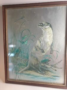 Vintage Audrey North Foil Art Reflective Etching Iridescent Otter Dragonfly