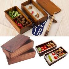 Japanese-style Bento Boxes Wooden Lunch Box Sushi Bowl Double Food Container