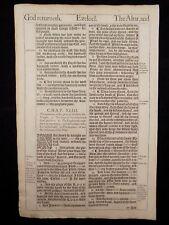 1611 KING JAMES BIBLE LEAF PAGE * BOOK OF EZEKIEL 41:17-43:16 *THE GLORY OF GOD*