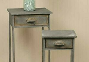 S/2 ~ DISTRESSED GREY METAL BEDSIDE TABLES ~ FARMHOUSE ~ SET of 2 ~